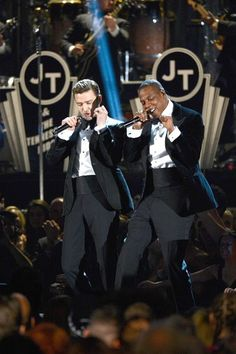 "Justin Timberlake performs ""Suit and Tie"" with Jay-Z, who left his seat in the audience and walked onstage for a surprise joint performance. Timberlake also performed ""Pusher Love Girl."" - 2013 Grammy's"