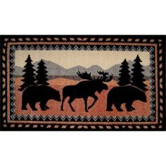 Our Cedar Run bath rug features 2 black bears and a moose in a serene, wooded mountain scene. For additional rustic style, this rug incorporates some southwest geometric designs. Lodge Bathroom, Shiplap Bathroom, Washroom, Bathroom Carpet, Bathroom Rugs, Moose Deer, Bull Moose, Bathroom Trends, Bathroom Ideas