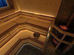 Steam Bathroom, Saunas, Bathroom Lighting Inspiration, Sauna Lights, Sauna Design, Lighting Solutions, Tiny House, Sauna Ideas, Stairs