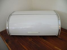 Vintage Brabantia White Metal Roll Top Lid Bread Box Stainless Chrome Trim EUC