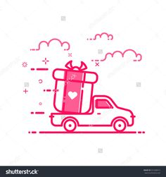 Vector illustration of icon concept valentines day in flat bold line style. Graphic design pink motion truck with gift or bounty. Outline delivery service object