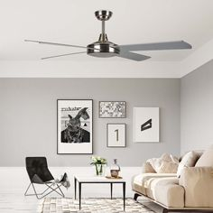 Modern fan Ostro with four reversible blades. Modern Fan, Fashion Room, Gallery Wall, Living Room, Bedroom, Ceiling Fans, Seasons, Home Decor, Home