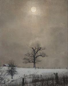 Trouvaille…by Jamie Heiden – Winterbilder Moonlight Painting, Landscape Artwork, Winter Art, Art For Art Sake, Nocturne, Moon Art, Encaustic Painting, Tree Art, Winter