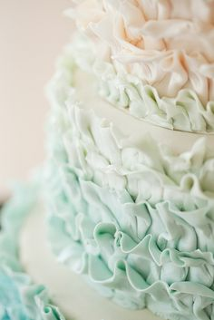 Seafoam green Ombre Ruffles Wedding Cake - Wild Orchid Baking Co.