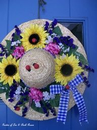 Ladies Garden Hat Door Decoration ~ made with silk flowers, wired gingham ribbon and little lady bugs to bring summer to your door! (Garden of Len & Barb Rosen)