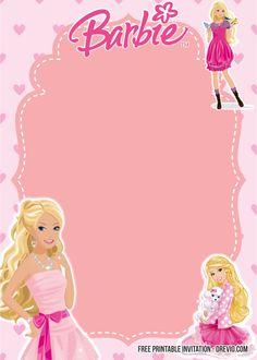 FREE Printable Barbie Birthday Invitation Templates | FREE Invitation Templates - Drevio Barbie Party Decorations, Barbie Theme Party, Barbie Birthday Party, Barbie Birthday Invitations, Masquerade Party Invitations, Free Printable Birthday Invitations, Party Invitations Kids, Bolo Barbie, Free Barbie
