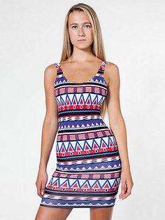 Printed Cotton Spandex Jersey Scoop Back Tank Dress