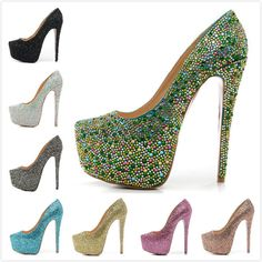 Women's 16 cm High Heels Green Rhinestone 6 cm Platform Fashion Red Bottom Pumps,Ladies Luxury Brand Wedding Shoes $98.84