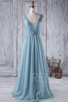 Bridesmaid Dress Dusty Blue Chiffon Wedding Ruched V Neck Maxi Open Back A Line Formal Sleeveless Prom H217a