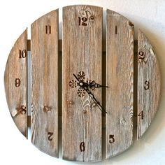 Drewniany zegar z desek / Large wall clock , Hand Painted Wooden Clock Large Wooden Clock, Large Clock, Into The Woods, Wall Clock Hands, Diy Clock, Clock Ideas, Wood Clocks, Antique Clocks, Pallet Crafts