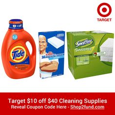 #Target is offering $10 off $40 #CleaningSupplies until 3/14/15 with coupon code! And don't forget there is Free Shipping on $25+ orders. Or get an extra 5% off & free shipping no minimum for Target RedCard members. Reveal Coupon Code Here:http://www.shop2fund.com/coupon/10-off-40-cleaning-supplies/769138/