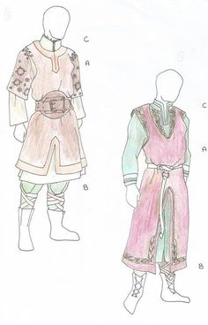 Aeirian style based off of viking/slavic dress more so in the North, the further south you go, the more Asian styles come into the designs. the second outfit would be perfect for Derran.