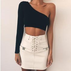 Shop 2019 Summer Fashion Black White Sexy Crop Top Long Sleeve T Shirt Women Solid Slop Neckline Tops female - Black - Online, Wide Selection of Women's T-Shirts at Affordable Price. Club Outfits For Women, Clothes For Women, Casual Skirt Outfits, Cute Outfits, Fashionable Outfits, Work Outfits, Look Fashion, Fashion Outfits, Fashion Black