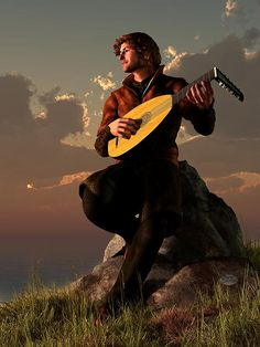 lovely artwork of a #bard playing a #lute