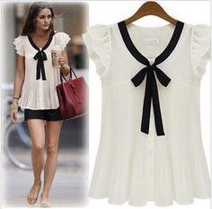 S XXL summer fashion shirts  women's plus size chiffon shirt short sleeve top women's blouse #D6120-inBlouses & Shirts from Apparel & Accessories on Aliexpress.com