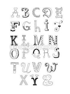 Cute retro hand drawn alphabet in black and white