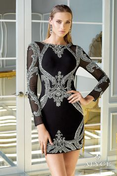 Long sleeve beaded short dress with bateau neckline and sheer beaded sleeves. Features a classy sequin pattern throughout and a deep v-cut back.**For the long version of this dress, see style 2351**