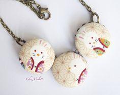 #kawaii #necklace #bunny necklace #otaku #beige fabric by chezviolette