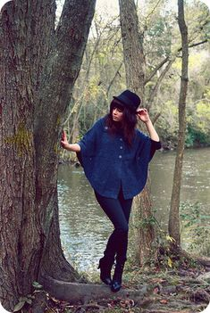H&M Hat, Charlotte Russe Wool Poncho, Silence + Noise High Waisted Skinnies, Lace Up Boots,