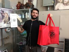 Louie Tats - picking up some supplies at the Mithra NY showroom.