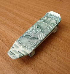 Dollar Bill Origami Skateboard by craigfoldsfives