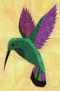 hummingbird paper pieced. Do you know why humming birds hum? Because they don't know the words. ; )