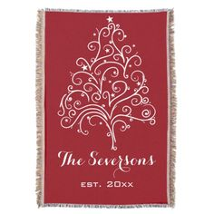 Personalized White #Christmas Tree on Red #Throw Customize the snuggly Christmas Tree on Red Throw Blanket and create a keepsake gift idea for a newlywed couple. Personalize it with a family name and year they were married. Feel free to change the text or font to suit your personal needs. This soft and cozy custom xmas fleece blanket features an intricate white Christmas tree with a red background. #weddinggifts #christmaswedding #wedding