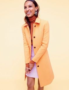 J. Crew Double-Cloth Lady Day Coat with Thinsulate in Pale Peach, Italian Featherweight Cashmere Turtleneck, Mini Skirt in Double-Serge Wool in Lilac and Floral Chandelier Earrings