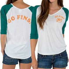 Women's Miami Dolphins Junk Food White Victory Tri-Blend V-Neck Three-Quarter Sleeve T-Shirt NFL.com - $44.95