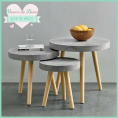 MDF table top in concrete look. You can find suitable tables here! House and … - furniture diy projects Concrete Crafts, Concrete Wood, Concrete Projects, Trendy Furniture, Diy Furniture, Furniture Design, Diy Home Crafts, Diy Home Decor, Refurbished Coffee Tables