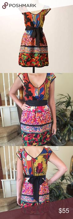 Anthropologie Moulinette Soeurs  Black & Bright This Anthro is stunning! It features the softest silk, gorgeous bold print that is o so lovely, long sash, fully lined, side slit pockets, zips up the side and soft gathers at the waist. This one is gorgeous with strappy sandals for summer and a beautiful pair of boots with a cardigan for fall! Perfect year round dress! Anthropologie Dresses