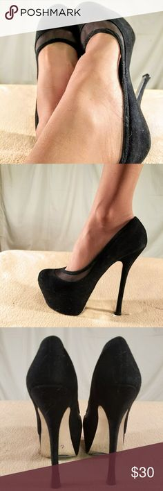 H by Halston Black Suede/Screen Lined Pumps These shoes have been Very Gently Worn and are in PERFECT CONDITION. The heel height of this shoe is 6 inches tall with a 2 inch platform. Halston Shoes Platforms