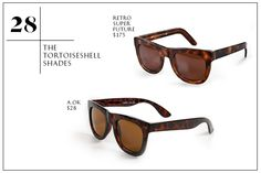 30 Men's Spring Wardrobe Essentials #refinery29  http://www.refinery29.com/mens-spring-clothing#slide28  28. The Tortoiseshell Shades —Trust, it's all about tortoiseshell. Carey Grant-esque and luxe-looking, the speckled brown frames give you a certain swagger no matter what the rest of your outfit may be. We're into options with an aviator look, so you can look fly strolling on Bedford Avenue, brunching at Extra Virgin, or keeping a low-pro on your flight to L.A. You're a big deal. ...