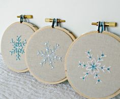 Christmas Ornament Hoop Art Snowflake Hostess Gift Natural Linen Hand Embroidery Set of Three Black Friday Etsy Cyber Monday Etsy. $21.00, via Etsy.