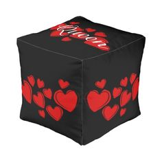 Queen of Hearts Design Square Pouf Cube Pouf