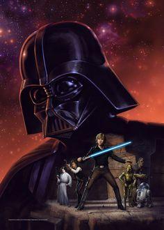 Jeff Carlisle's version of Ralph McQuarrie's cover for the original Star Wars novelization, The Adventures of Luke Skywalker