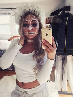 White sugar skull makeup                                                                                                                                                                                 More