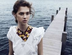 Who What Wear Blog Songe DEte Model Anais Pouliot LOfficiel June 2014 By Photographer Hannah Khymych Stylist Vanessa Bellugeon Boho Summer Editorial Shoot Wavy Low Chignon Romantic Hair Natural Beauty Ruffle Sleeve Top Leather Bib Necklace