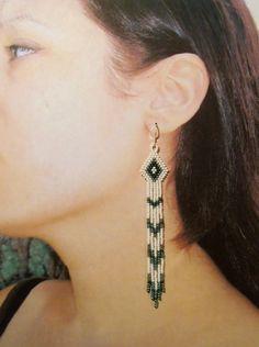 Long Green and White Native Style Seed Bead Earrings, Handmade Seed Beaded Earrings, Metallic Green and White Earrings, Diamondhead