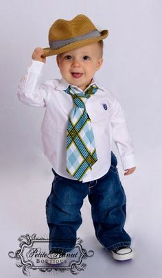 Little Guy Necktie Tie - Plaid - Teal Turquoise Navy White Lime Green - (12m - 2T) - Baby Boy Toddler - Custom Order
