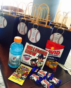 Little league opening day goodie bags softball party favors, baseball party foods, party favors Baseball Birthday Party, Sports Birthday, First Birthday Parties, Boy Birthday, First Birthdays, Birthday Ideas, Baseball Party Favors, Sports Party Favors, Birthday Gifts