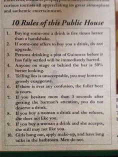Irish pub's ten rules for a good night out
