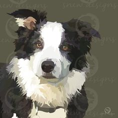 snewdesigns | Collie Can Design, Logo Design, Create Your Own Invitations, Watercolor Portraits, Collie, Pet Portraits, Cow, How To Draw Hands, Artwork