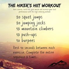 Got 15 minutes? Then I've got a HIIT (high intensity interval training) workout Got 15 minutes? Then I've got a HIIT (high intensity interval training) workout Fitness Workouts, At Home Workouts, Cardio Workouts, Workout Routines, Interval Workouts, Cardio Yoga, Go Hiking, Hiking Tips, Hiking Gear