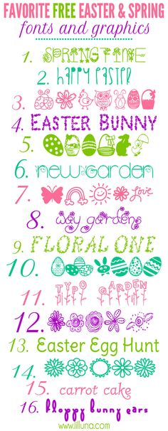Favorite FREE Easter and Spring Fonts and Graphics on { lilluna.com } Lots of cute fonts to use in so many ways.