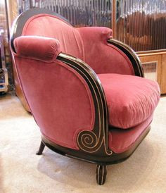 Art Deco French Mahogany Velvet Rose Chair 1930's via Annalisa Corell. Wow!!! That's some design!!