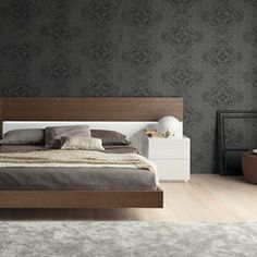 wood bed frame charcoal walls