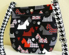 Scottie Dog Crossbody Tote Style Purse, Black and Red Scottish Terrier Bag