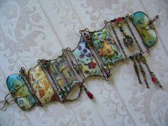 Image-transfer, sculpted collage cuff Cocojojo Originals on Etsy