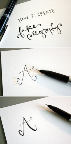 How to create fake calligraphy | Jones Design Company |  Every time your pen stroke goes downward (as seen with the arrows above), just draw a close line and fill it in.